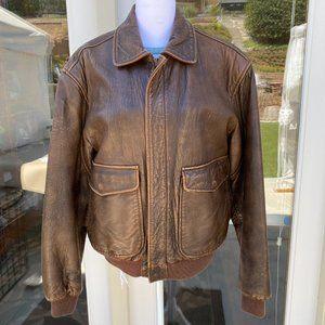 Vintage Aeropostale Leather Bomber Aviation Jacket